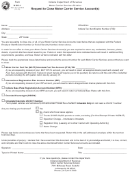 State Form 55968 Form Oss-1 - Request to Close Motor Carrier Service Account(S) - Indiana
