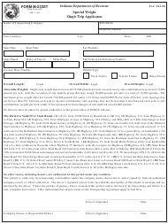 State Form 944 Form M-233st - Special Weight Single Trip Applicaton - Indiana