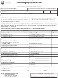 State Form 52108 Form Agq-100 - Agricultural Equipment Exemption Usage Questionnaire - Indiana