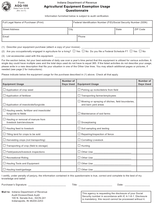 State Form 52108 Fillable Pdf