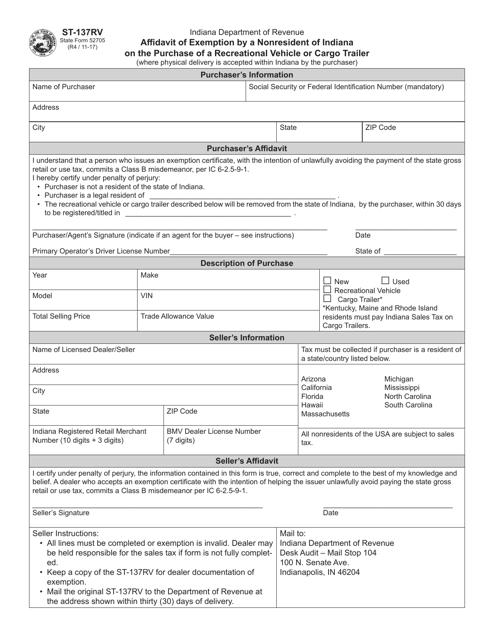 State Form 52705 (ST-137RV)  Printable Pdf