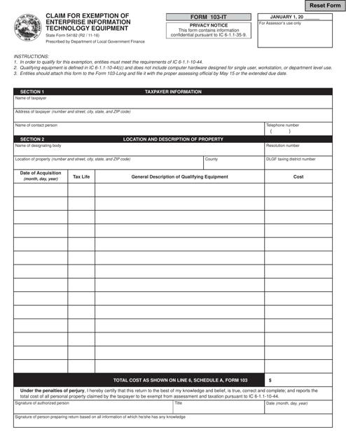 State Form 54182 (103-IT)  Printable Pdf
