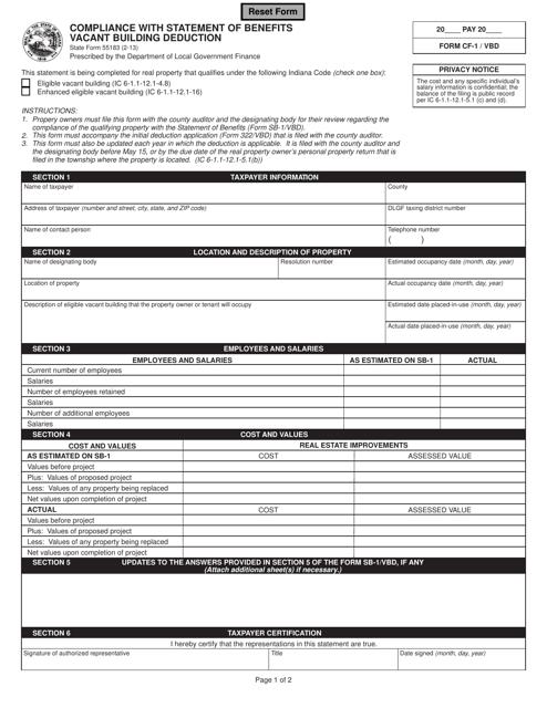 State Form 55183 (CF-1/VBD)  Printable Pdf