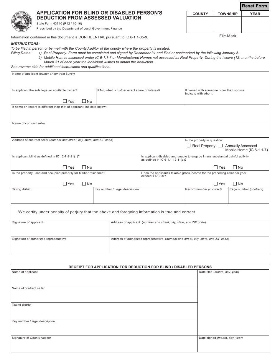State Form 43710 Download Fillable PDF or Fill Online ...