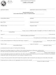 """Form MF-135 (State Form 49169) """"Irrevocable Standby Letter of Credit"""" - Indiana"""