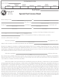"Form SF-2 (State Form 46841) ""Special Fuel License Bond"" - Indiana"