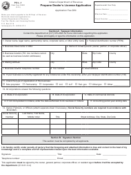 "Form PDL-1 (State Form 55549) ""Propane Dealer's License Application"" - Indiana"
