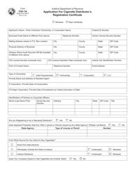 "Form CIG-1A (State Form 48477) ""Application for Cigarette Distributor's Registration Certificate"" - Indiana"