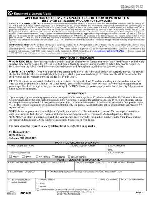 VA Form 21P-8924  Printable Pdf