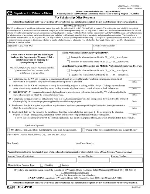 VA Form 10-0491K  Printable Pdf