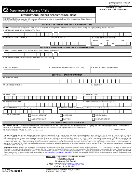 VA Form 24-0296A Fillable Pdf