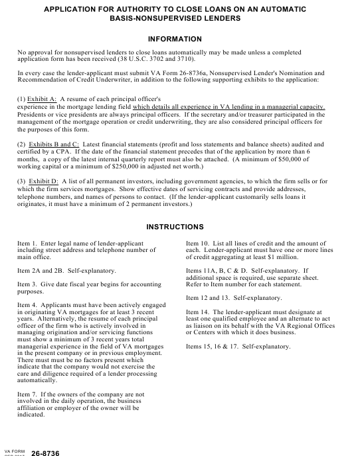 VA Form 26-8736  Printable Pdf