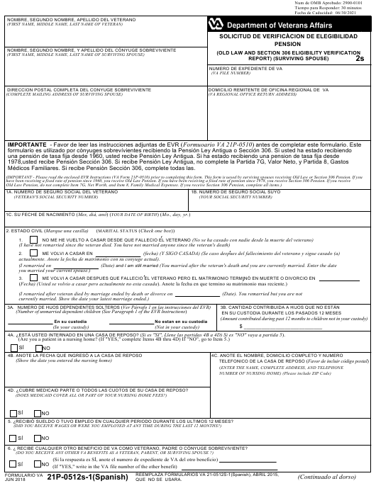 VA Form 21P-0512S-1 Printable Pdf