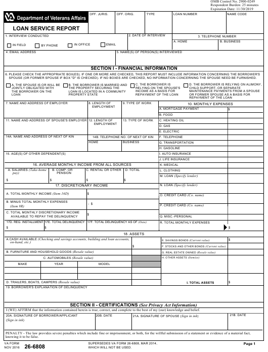 VA Form 26-6808 Printable Pdf