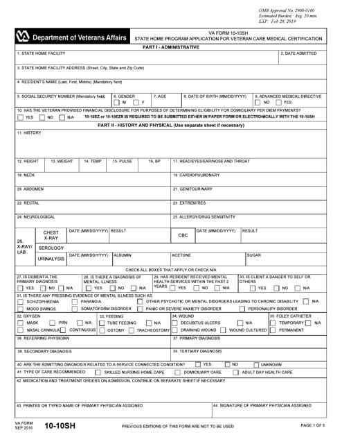 VA Form 10-10SH Printable Pdf