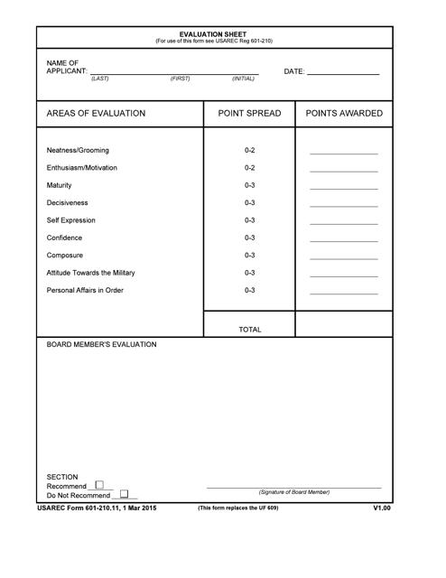 USAREC Form 601-210.11  Printable Pdf