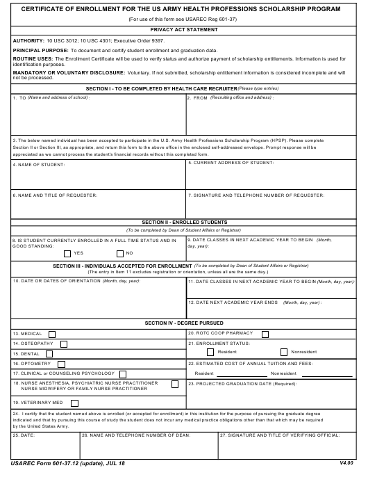 USAREC Form 601-37.12 Printable Pdf