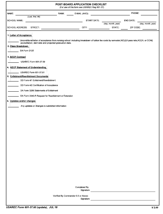 USAREC Form 601-37.60 Printable Pdf