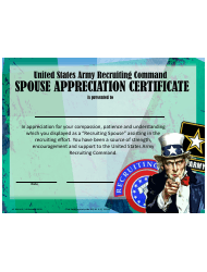 USAREC Form UF 608-6-1 United States Army Recruiting Command Spouse Appreciation Certificate