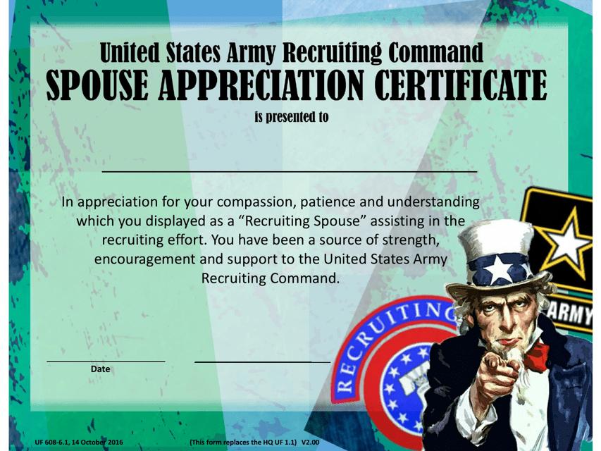 USAREC Form UF 608-6-1  Fillable Pdf