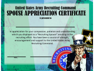 "USAREC Form UF608-6-1 ""United States Army Recruiting Command Spouse Appreciation Certificate"""