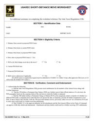 """HQ USAREC Form 1.2 """"USAREC Short-Distance Move Worksheet"""""""