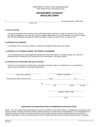 Form PHS-5141-2 Appointment Affidavit Regular Corps