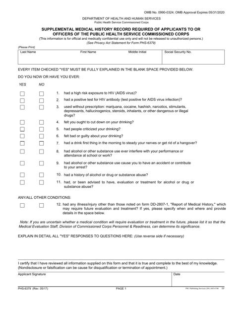 Form PHS-6379  Printable Pdf