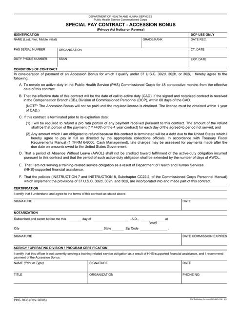 Form PHS-7033 Fillable Pdf