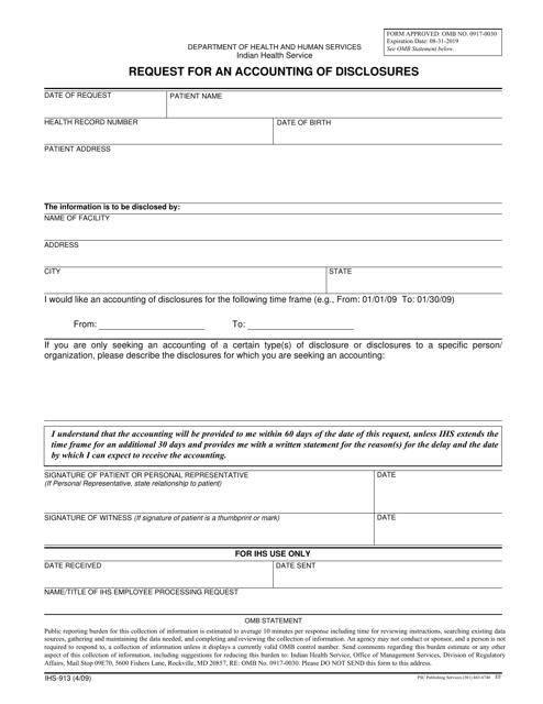 Form IHS-913  Printable Pdf