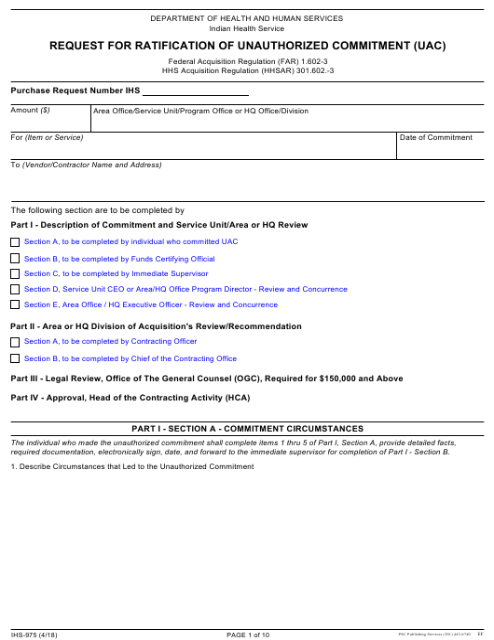 Form IHS-975 Printable Pdf