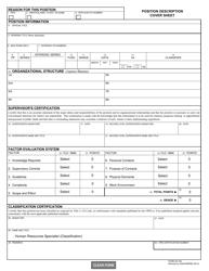 """Form AD-332 """"Position Description Cover Sheet"""""""