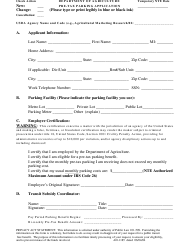 """Form AD-1185 """"Pre-tax Parking Application"""""""