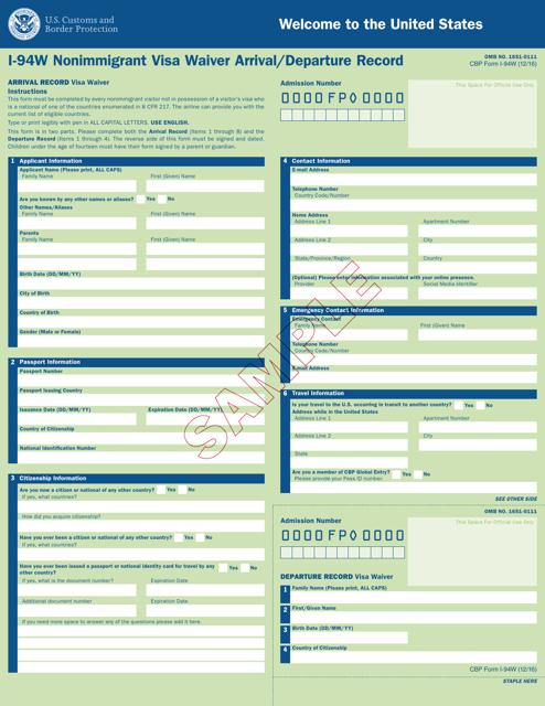 CBP Form I-94W  Printable Pdf