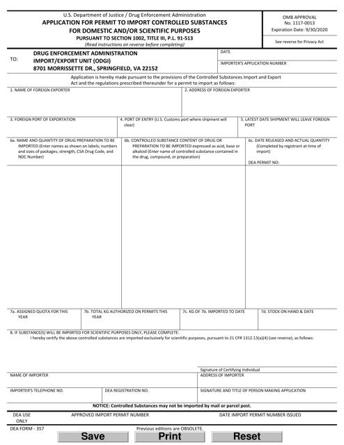 DEA Form 357 Printable Pdf