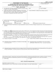 "TTB Form 5110.41 ""Registration of Distilled Spirits Plant"""