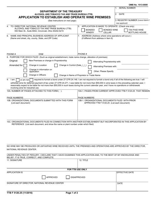 TTB Form 5120.25  Printable Pdf