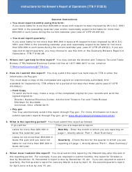 """Instructions for TTB Form 5130.9 """"Brewer's Report of Operations"""""""