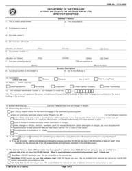 """TTB Form 5130.10 """"Brewer's Notice"""""""