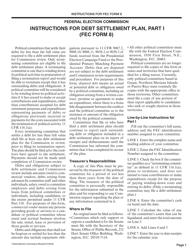 "Instructions for FEC Form 8 ""Debt Settlement Plan"""