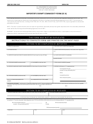 Form SC-6 Importer's Exempt Commodity Form