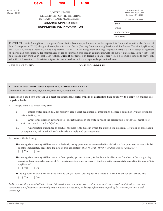 blm form 4130 b download fillable pdf grazing application