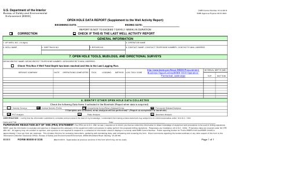 Form BSEE-0133S  Printable Pdf