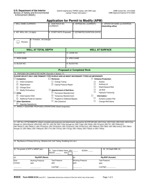 Form BSEE-0124  Printable Pdf