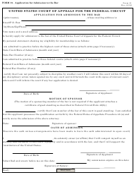 "Form 21 ""Application for Admission to the Bar"""