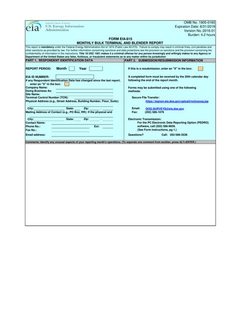 Form EIA-815  Printable Pdf