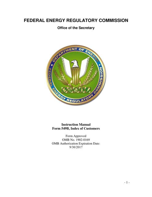 FERC Form 549B  Printable Pdf