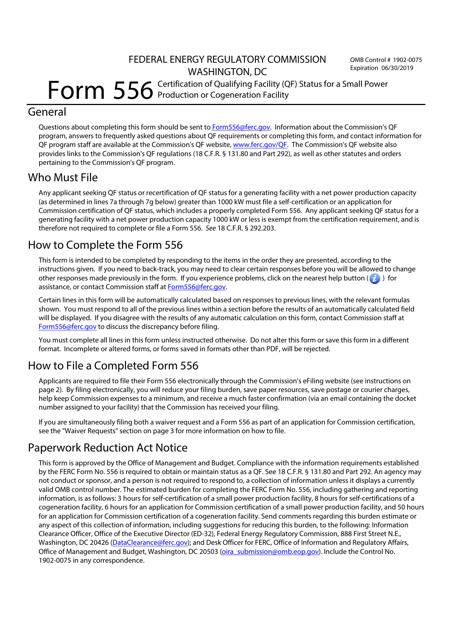 FERC Form 556 Download Fillable PDF or Fill Online ...