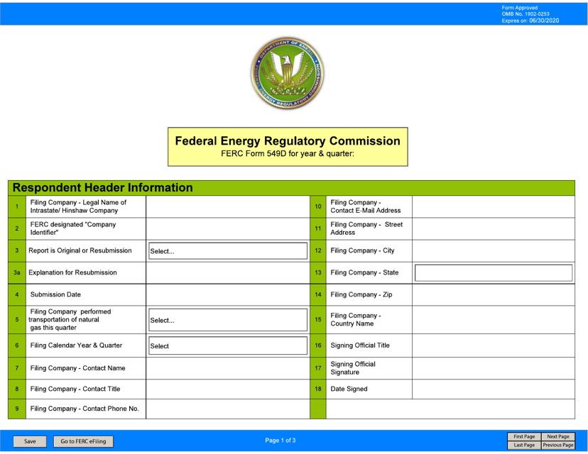 FERC Form 549D  Printable Pdf