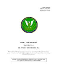 "Instructions for FERC Form 73 ""Oil Pipeline Service Life Data"""